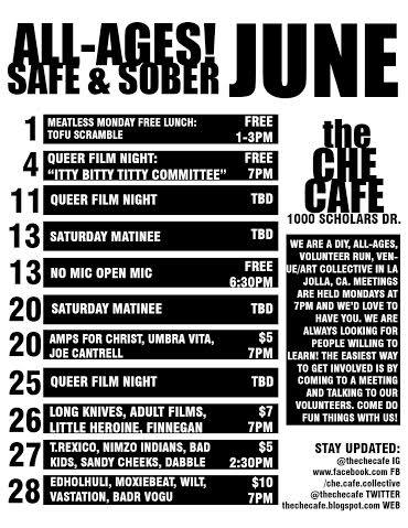 ALL Ages Safe and Sober - Che Cafe
